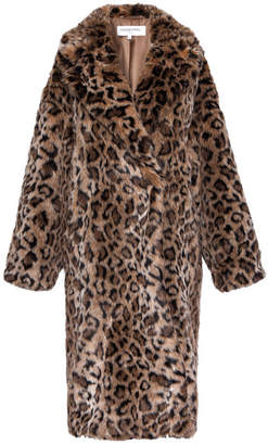 Gerard Darel Pony Hair-style Arianna Coat With Leopard Motif