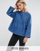 Waven Petite Annelie Oversized Peplum Top With Pockets
