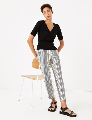 Marks and Spencer Mia Slim Cotton Striped Trousers