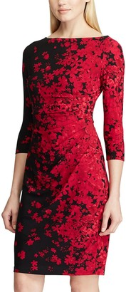 Chaps Petite 3/4 Sleeve All-Over Floral Print Dress