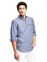 Old Navy Regular-Fit Classic Linen-Blend Popover Shirt for Men