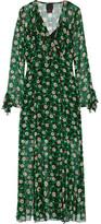Anna Sui Ruffle-trimmed Floral-print Silk-georgette Wrap Dress