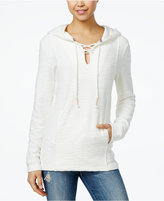Roxy Juniors' Pearling Cotton Lace-Up Poncho Hoodie