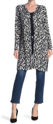 Sweet Romeo Leopard Print Jersey Open Drape Cardigan