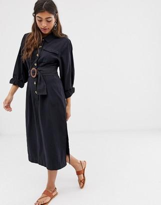 Free People Aubrey buttondown belted maxi shirt dress-Black