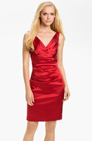 Suzi Chin for Maggy Boutique Double V-Neck Ruched Sheath Dress