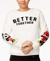 Hybrid Juniors' Mickey and Minnie Plush Graphic Sweatshirt