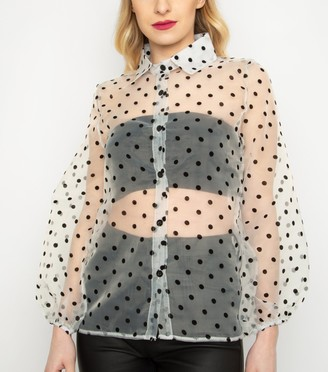 New Look Cutie London Spot Organza Shirt