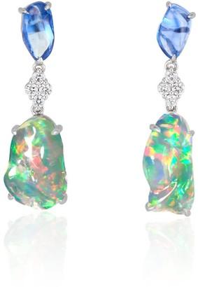 Ri Noor Ice Drops Blue Sapphire Clear Fire Opal & Diamond Earrings