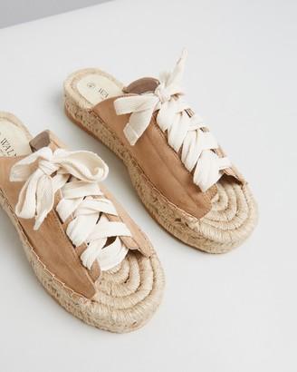 Walnut Melbourne Women's Neutrals Flat Sandals - Mimi Espadrilles - Size 36 at The Iconic