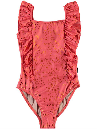 Molo Girl's Nathalie Star Printed Ruffle One-Piece Swimsuit, Size 3-14