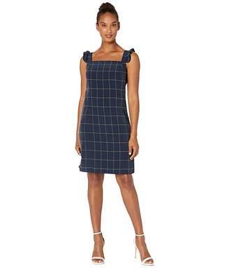 CeCe Sleeveless Windowpane Dress with Ruffle Straps