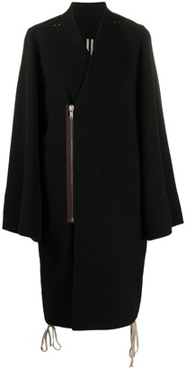 Rick Owens off-centre zipped V-neck coat