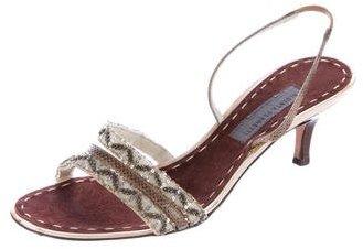 Alberta Ferretti Snakeskin-Trimmed Embellished Sandals