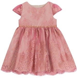 Rare Editions Baby Girls Foil Lace Dress