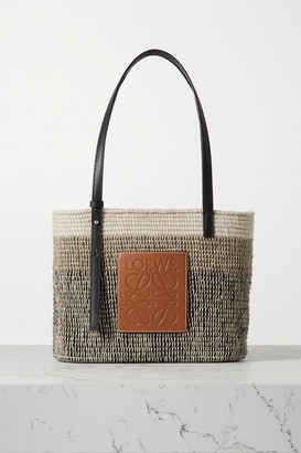 Loewe Square Basket Leather-trimmed Woven Tote - Tan