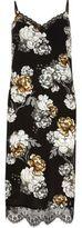 River Island Womens Black floral print lace hem slip midi dress
