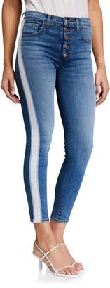 Veronica Beard Debbie High-Rise Skinny w/ Tuxedo Stripes