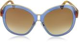 Balenciaga BA0003 55B Blue Acetate & Gold Metal Women's Sunglasses