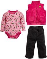 John Deere Baby Girl Tractor Bodysuit, Fleece Vest & Pants Set