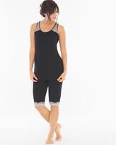 Soma Intimates Tunic Pajama Set Black/Ivory