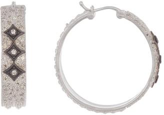 Armenta New World Sterling Silver & Champagne Diamond Wide Crivelli Hoop Earrings