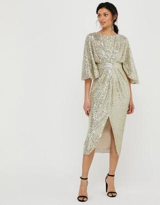 Under Armour Sophia Sequin Cape Sleeve Midi Dress Gold