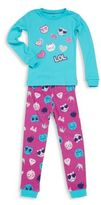 Petit Lem Toddler & Little Girl's Emoji 2 Piece Top & Pant Pajama Set