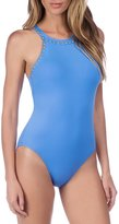 LaBlanca La Blanca Deco Stud Embellished High Neck Tummy Toner One-Piece