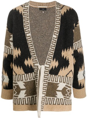Alanui Wool Patterned Cardigan Kimono With Front Tie