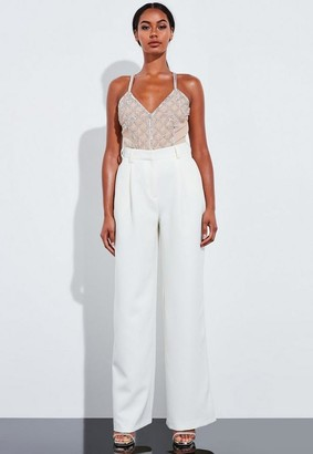 Missguided Nude Embellished Strappy Bodysuit