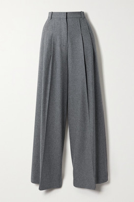 Joseph Tima Wool And Silk-blend Flannel Wide-leg Pants - Gray