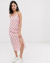 Daisy Street cami strap midi dress with thigh split in graphic spot print