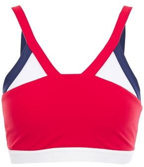 Perfect Moment Mesh-trimmed Color-block Stretch Sports Bra