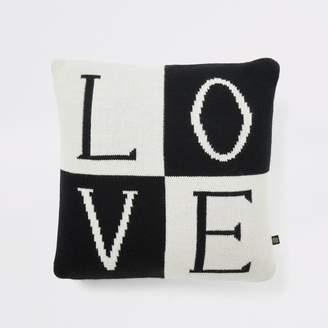 River Island Black knitted 'Love' cushion