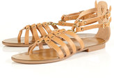 HUNK Tan Metal Chain Gladiator Sandals
