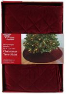 Quilted Velvet Christmas Tree Skirt in Burgundy