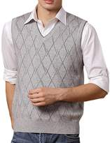 DD.UP Men's Casual Slim Fit Vest Knit V Neck Argyle Pattern Wool Sweater Vest
