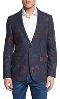 Etro Paisley-Print Wool Blazer, Blue Multi