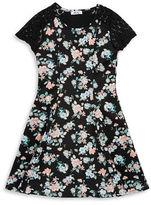 Dex Floral-Print Lace Cap-Sleeve A-Line Dress