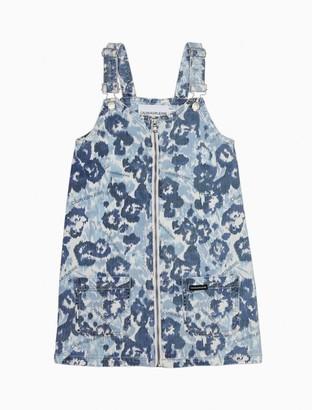 Calvin Klein Girls Printed Zip-Front Denim Dress