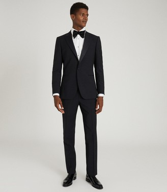 Reiss POKER PERFORMANCE MODERN FIT TUXEDO TROUSERS Navy