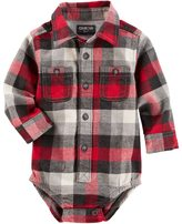 Osh Kosh Baby Boy Red Plaid Flannel Bodysuit