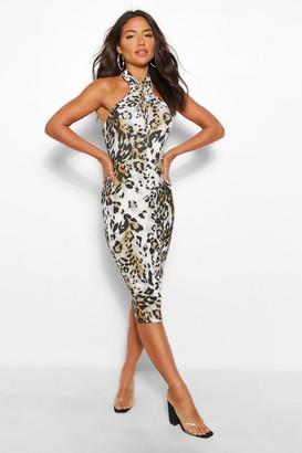 boohoo Leopard Print Wrap Front Halter Neck Midi Dress