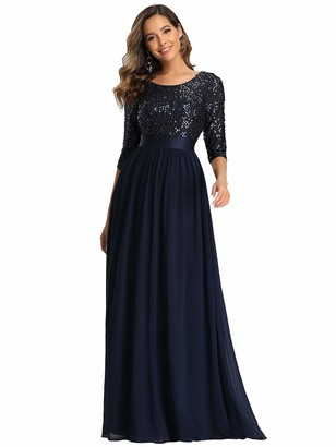 Ever Pretty Ever-Pretty Women's Elegant 3/4 Sleeves Sequin Empire Waist A Line Chiffon Prom Dresses Navy Blue 12UK