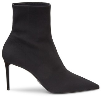 Prada Technical Fabric Point-Toe Stiletto Ankle Boots