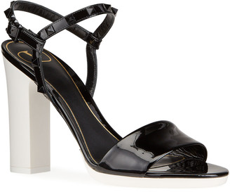 Valentino 110mm Rockstud Tonal Sandals with Rubber Sole