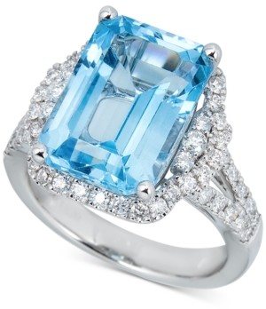 Macy's Swiss Blue Topaz (10 ct. t.w.) & Diamond (7/8 ct. t.w.) Ring in 14k White Gold