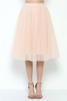 Esley Collection Pink Tulle Midi Skirt