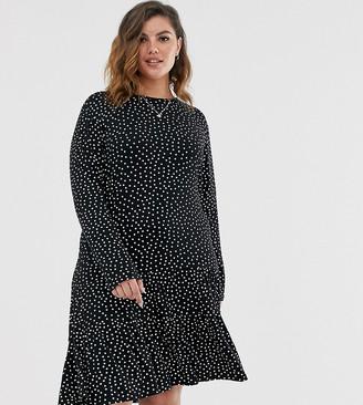 Wednesday's Girl Curve long sleeve dress with peplum hem in spot print-Black